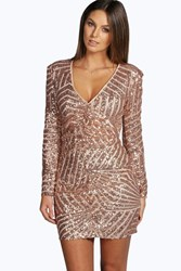 Boohoo Sue Sequin Panelled Bodycon Dress Nude