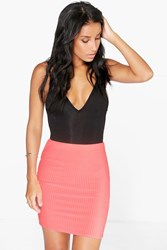 Boohoo Ribbed Mini Skirt Neon Coral Neon Coral