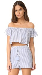The Jetset Diaries Haven Off Shoulder Crop Top Chambray Stripe
