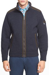 Men's Paul And Shark Zip Front Melange Sweater Jacket With Leather Trims