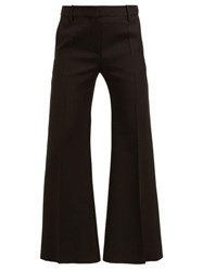 Valentino Exaggerated Flare Wool Blend Crepe Trousers Black