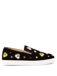 Christian Louboutin Miss Academy Crest Embroidered Velvet Trainers Black Multi