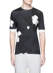 3.1 Phillip Lim Floral Print Double Sleeve Cotton T Shirt Grey