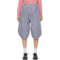 Comme Des Garcons Girl Blue And White Gingham Wide Trousers
