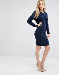Y.A.S Dotty Textured Pencil Skirt Navy Blazer