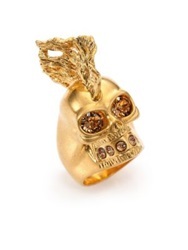 Alexander Mcqueen Skull Punk Fish Ring Goldtone