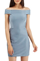 Topshop Off The Shoulder Ribbed Body Con Dress Blue