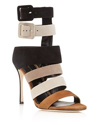 Sergio Rossi Zebra Strappy High Heel Sandals Black Beige