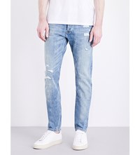 The Kooples Destroyed Slim Fit Tapered Jeans Blu03