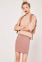 Missguided Jersey Mini Skirt Pink Brown