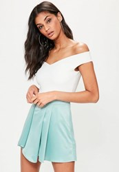 Missguided Blue Satin Wrap High Waisted Shorts Powder Blue