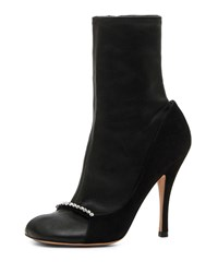 Valentino Garavani Ring Toes Napa And Suede Stretch Sock Booties Black