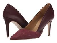 Massimo Matteo Suede And Leather Pump Cordovan Women's Shoes Burgundy