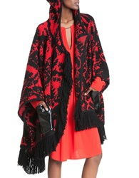 Tracy Reese Fringe And Faux Leather Trimmed Poncho Black Red