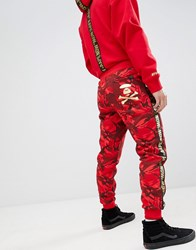 Aape By A Bathing Ape Joggers With Taping In Red Camo Red Camo