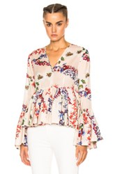 Msgm Printed Long Sleeve Top In Floral White Floral White