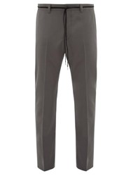 Lanvin Drawstring Slim Leg Wool Trousers Grey