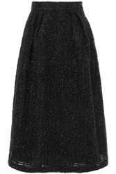 Co Metallic Tweed Midi Skirt Black