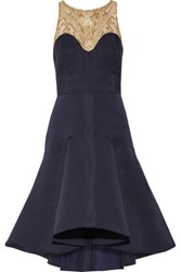 Marchesa Notte Embroidered Tulle And Pleated Crepe Gown Navy