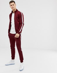 Kiomi Track Top In Burgundy With Side Stripe Red
