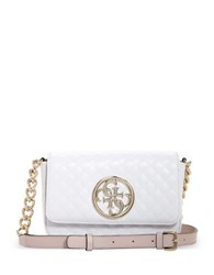 Guess Chainlink Accented Quilted Crossbody Bag White