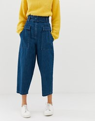 Whistles Limited Denim Utility Trousers Blue