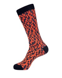Jared Lang Graphic Print Cotton Blend Socks Gray Orange