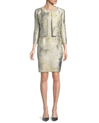 Albert Nipon Sleeveless Marble Sheath Dress W Jacket Yellow