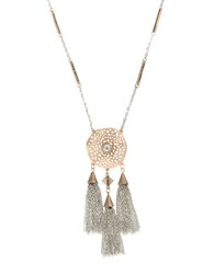 Kensie Flora And Fauna Two Tone Tassel Pendant Necklace