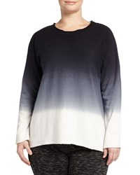 Marc Ny Performance Plus High Low Ombre Dolman Sweater Black Gray White