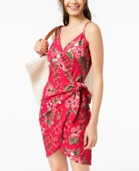 Almost Famous Juniors' Printed Wrap Dress Fuchsia Floral