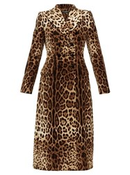Dolce And Gabbana Double Breasted Leopard Print Velvet Coat Leopard