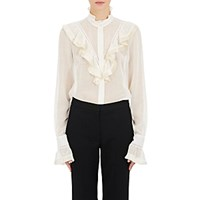 Stella Mccartney Women's Wool Blend Fringed Ruffle Blouse Cream