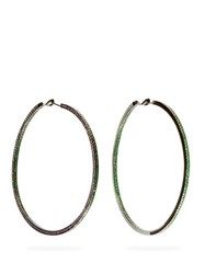 Lynn Ban Duotone Lab Sapphire And Rhodium Plated Earrings Green