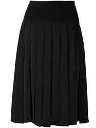 Jil Sander Navy Pleated Front Skirt Blue