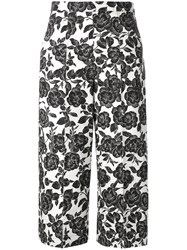 Msgm Floral Print Cropped Trousers Black