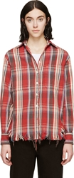R 13 Red Plaid Frayed Shirt
