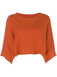 Issey Miyake Vintage 80'S Cropped Knitted Blouse Yellow And Orange