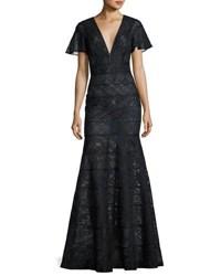 J. Mendel Flutter Sleeve Paneled Lace Gown Blue