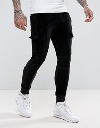 Religion Velour Joggers With Pocket Black