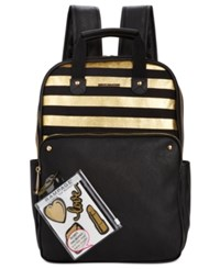 Rampage Customizable Canvas Colorblock Backpack With Stickers Only At Macy's Gold Black