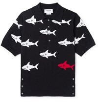 Thom Browne Shark Intarsia Knitted Cotton Polo Shirt Navy