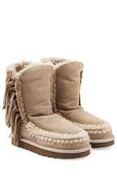 Mou Eskimo Wedge Short Sheepskin Boots Grey