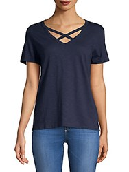 Saks Fifth Avenue Crisscross V Neck Tee Black