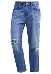 Religion Rehab Relaxed Fit Jeans Washed Blue Destroyed Denim