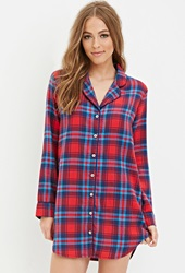 Forever 21 Tartan Plaid Flannel Nightdress Red Blue