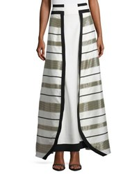 Zeus And Dione Graphic Metallic Stripe Maxi Skirt Gold White