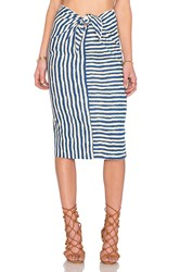 Wayf Tie Front Pencil Skirt Navy