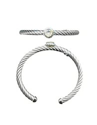 Lord And Taylor Sterling Silver Cubic Zirconia Cuff Bracelet