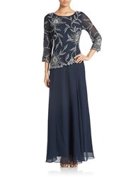 J Kara Plus Floral Lace Popover Gown Navy Lust